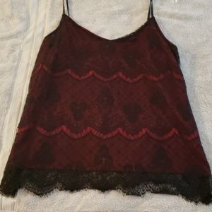Black/red lace top